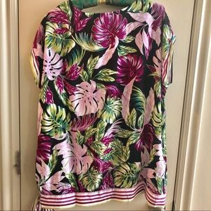 Fred David Tops - Tropical Floral and Striped Top